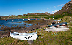 View of natural harbour at Old Dornie village Assynt Coigach region of Scottish Highlands, Scotland , UK