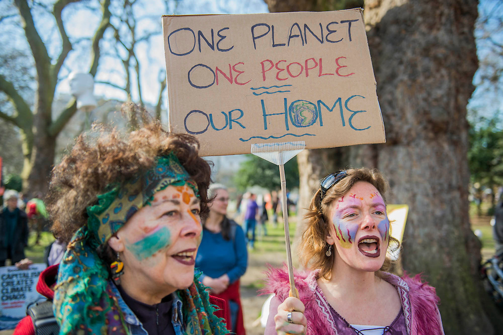 Singing and chanting were common. The People's Climate March saw thousands of people from all angles of climate protest (from Greenpeace and Friends of the Earth to much smaller anti fracking groups) march from Holborn to Westminster in London. The march was colourful and generally peaceful.