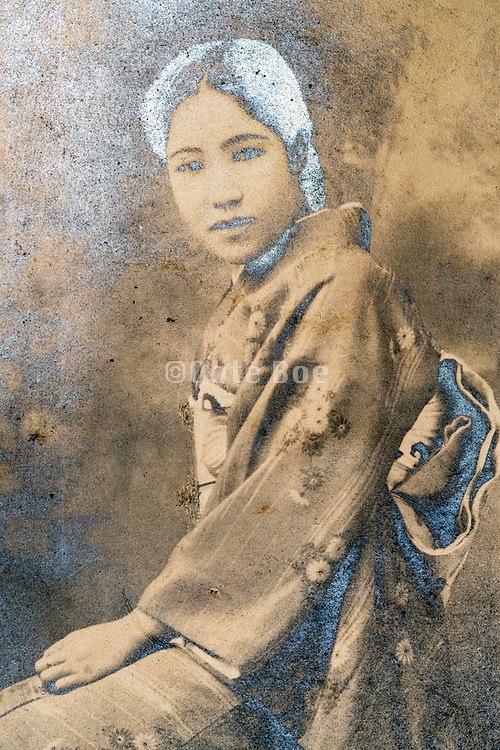 eroding studio portrait of young woman Japan ca 1930s