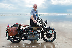 Byrne Bramwell with his 1929 Henderson KJ on the sands of Daytona Beach for the official start of stage 1 of the Motorcycle Cannonball Cross-Country Endurance Run, which on this day ran from Daytona Beach to Lake City, FL., USA. Friday, September 5, 2014.  Photography ©2014 Michael Lichter.