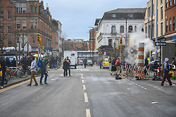 February 8, 2020, Manchester, United Kingdom: Manchester's Northern Quarter is transformed into New York for filming of a scene from Series 4 of 'The Crown'. The Netflix series has been filming a scene where Princess Diana visited Henry Street Settlement in New York during her official visit in February 1989. (Credit Image: © Stephen Cottrill/London News Pictures via ZUMA Wire)