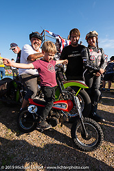 Carl's Cycle's Carl Olsen with Matt, Brittney and his grandson Lock at the Spirit of Sturgis races at the fairgrounds during the Sturgis Black Hills Motorcycle Rally. Sturgis, SD, USA. Monday, August 5, 2019. Photography ©2019 Michael Lichter.
