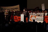 """10 FEB 2003, BERLIN/GERMANY:<br /> Wolfgang Clement, SPD, Bundeswirtschaftsminister, haelt eine Rede, waehrend der Abschlusskundgebung der Demonstration unter dem Motto """"Jetzt reicht´s - Das Handwerk gegen den Stillstand"""", links: Dieter Philipp, Praesident Zentralverband des Deutschen Handwerks, ZDH, Tempodrom<br /> IMAGE: 20030210-01-018<br /> KEYWORDS: Demo, Protest,"""