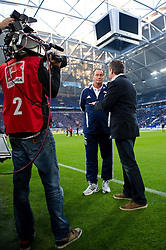 15.10.2011, Veltins Arena, Gelsenkirchen, GER, 1. FBL, FC Schalke 04 vs. 1. FC Kaiserslautern, im Bild Huub Stevens (Trainer Schalke) im TV Interview // during FC Schalke 04 vs. 1. FC Kaiserslautern at Veltins Arena, Gelsenkirchen, GER, 2011-10-15. EXPA Pictures © 2011, PhotoCredit: EXPA/ nph/  Kurth       ****** out of GER / CRO  / BEL ******