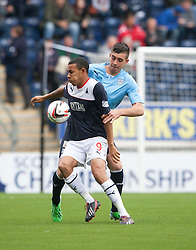 Falkirk's Phil Roberts and Dundee's Declan Gallagher.<br /> half time : Falkirk 1 v 0 Dundee, 21/9/2013.<br /> ©Michael Schofield.