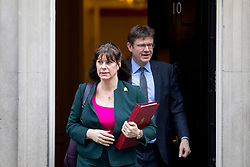 © Licensed to London News Pictures. 30/01/2018. London, UK. Secretary of State for Business, Energy and Industrial Strategy Claire Perry and Secretary of State for Business, Energy and Industrial Strategy Greg Clarke leaving Downing Street after attending a Cabinet meeting this morning. Photo credit : Tom Nicholson/LNP