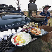 A box breakfast int he field in Timbavati Game Reserve, South Africa.