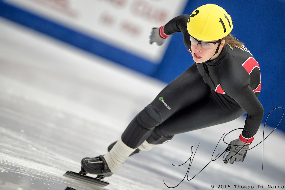 March 18, 2016 - Verona, WI - Martina Krone, skater number 112 competes in US Speedskating Short Track Age Group Nationals and AmCup Final held at the Verona Ice Arena.