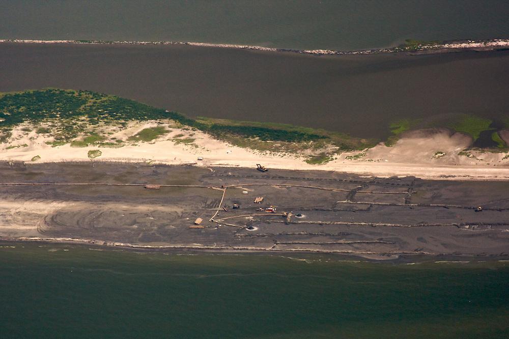 Berm building, Pelican Island, Plaquemines Parish, Louisiana, USA
