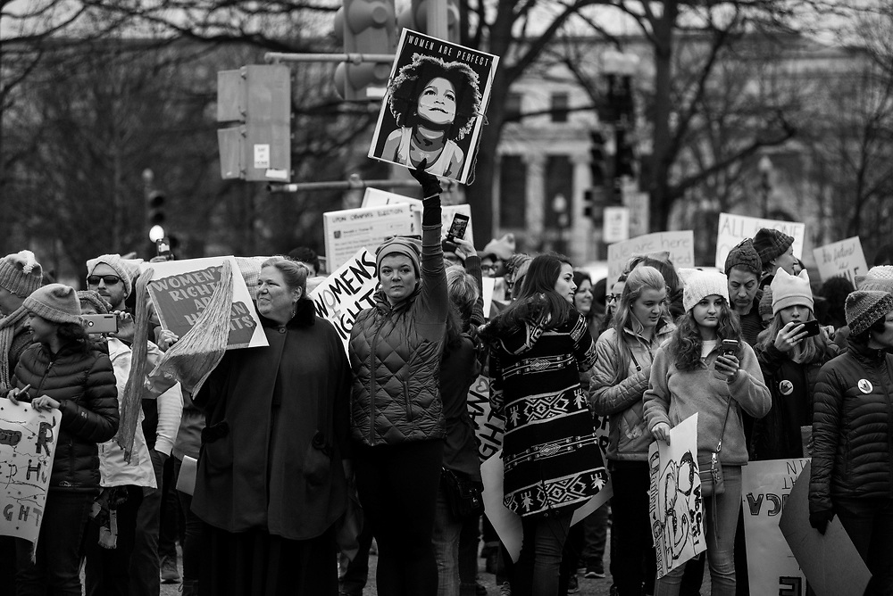 Crowd walking to the National Mall for the Women's March on DC, January 20, 2017.