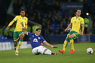 Ramiro Funes Mori of Everton passes the ball under pressure from Josh Murphy and Steven Whittaker of Norwich City. EFL Cup, 3rd round match, Everton v Norwich city at Goodison Park in Liverpool, Merseyside on Tuesday 20th September 2016.<br /> pic by Chris Stading, Andrew Orchard sports photography.