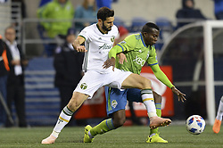 November 8, 2018 - Seattle, Washington, U.S - The Sounders NOUHOU (5) defends against DIEGO VALERI (8) as the Portland Timbers visit the Seattle Sounders in a MLS Western Conference semi-final match at Century Link Field in Seattle, WA. Portland won the match in PK's 4-2. (Credit Image: © Jeff Halstead/ZUMA Wire)
