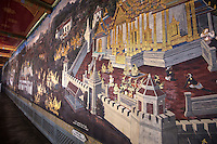 Murals at Wat Phra Kaew,  Temple of the Emerald Buddha, its full official name is Wat Phra Sri Rattana Satsadaram.  The temple is regarded as the most sacred Buddhist temple in Thailand.located within the grounds of the Grand Palace.