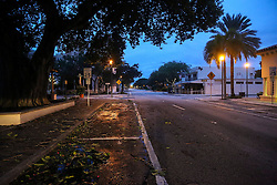 October 7, 2016 - Florida, U.S. - Lucerne Avenue is empty early Friday, October 7, 2016. (Credit Image: © Bruce R. Bennett/The Palm Beach Post via ZUMA Wire)