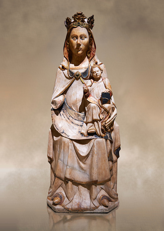 Gothic statue of the Virgin Mary and Child. Polychrome and gold leaf on alabaster. Date - Second half of the 14th century. National Museum of Catalan Art, Barcelona, Spain inv no: 9874 .<br /> <br /> If you prefer you can also buy from our ALAMY PHOTO LIBRARY  Collection visit : https://www.alamy.com/portfolio/paul-williams-funkystock/gothic-art-antiquities.html  Type -     MANAC    - into the LOWER SEARCH WITHIN GALLERY box. Refine search by adding background colour, place, museum etc<br /> <br /> Visit our MEDIEVAL GOTHIC ART PHOTO COLLECTIONS for more   photos  to download or buy as prints https://funkystock.photoshelter.com/gallery-collection/Medieval-Gothic-Art-Antiquities-Historic-Sites-Pictures-Images-of/C0000gZ8POl_DCqE
