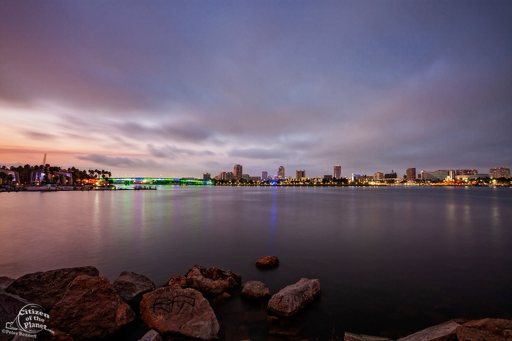 Mouth of the Los Angeles River at Long Beach, Los Angeles County, California, USA