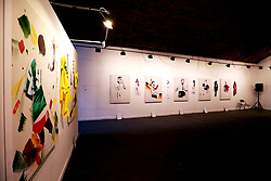 A view of the work on display at the Art of Football World In Colour Exhibition Preview at Hoxton Arches, London.