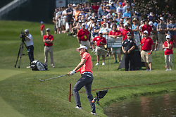 June 22, 2018 - Cromwell, CT, USA - On his way to bogeying the 15th hole, Jordan Spieth, the 2017 Travelers champion, chips onto the 15th green during the second round of the Travelers Championship at TPC River Highlands in Cromwell, Conn., on Friday, June 22, 2018. (Credit Image: © Patrick Raycraft/TNS via ZUMA Wire)