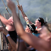 Jacqueline Graham in action at the Herculean Hoist obstacle during the Reebok Spartan Race. Mohegan Sun, Uncasville, Connecticut, USA. 28th June 2014. Photo Tim Clayton