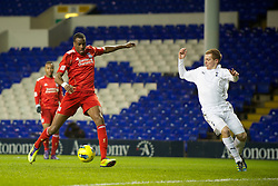 LONDON, ENGLAND - Wednesday, February 1, 2012: Liverpool's Michael Ngoo in action against Tottenham Hotspur during the NextGen Series Quarter-Final match at White Hart Lane. (Pic by David Rawcliffe/Propaganda)
