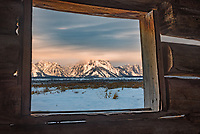 The view out the window from this historic cabin was so perfect it looked like a picture hanging on the wall. The northern Tetons stood prominently with the top of Mount Moran shrouded in low clouds as the muted colors of sunrise overtook the western sky. JP Cunningham built this 2-room log cabin in the 1880's and lived on this ranch for 40 years. The area regularly experiences some of the coldest temperatures in the lower US. After spending 1 night camping, I can't imagine surviving the long harsh winters here in such a primitive home.
