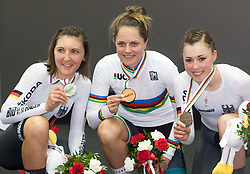 March 2, 2019 - Pruszkow, Poland - Lisa Brennauer (L) of Germany (Silver), Ashlee Ankudinoff of Australia the gold medal and Lisa Klein (R) of Germany (Bronze) pose for the Women's individual pursuit race on day four of the UCI Track Cycling World Championships held in the BGZ BNP Paribas Velodrome Arena on March 02 2019 in Pruszkow, Poland. (Credit Image: © Foto Olimpik/NurPhoto via ZUMA Press)