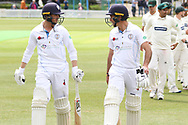 Wayne Madsen & Harvey Hosein unbeaten at Lunch of the Specsavers County Champ Div 2 match between Leicestershire County Cricket Club and Derbyshire County Cricket Club at the Fischer County Ground, Grace Road, Leicester, United Kingdom on 27 May 2019.