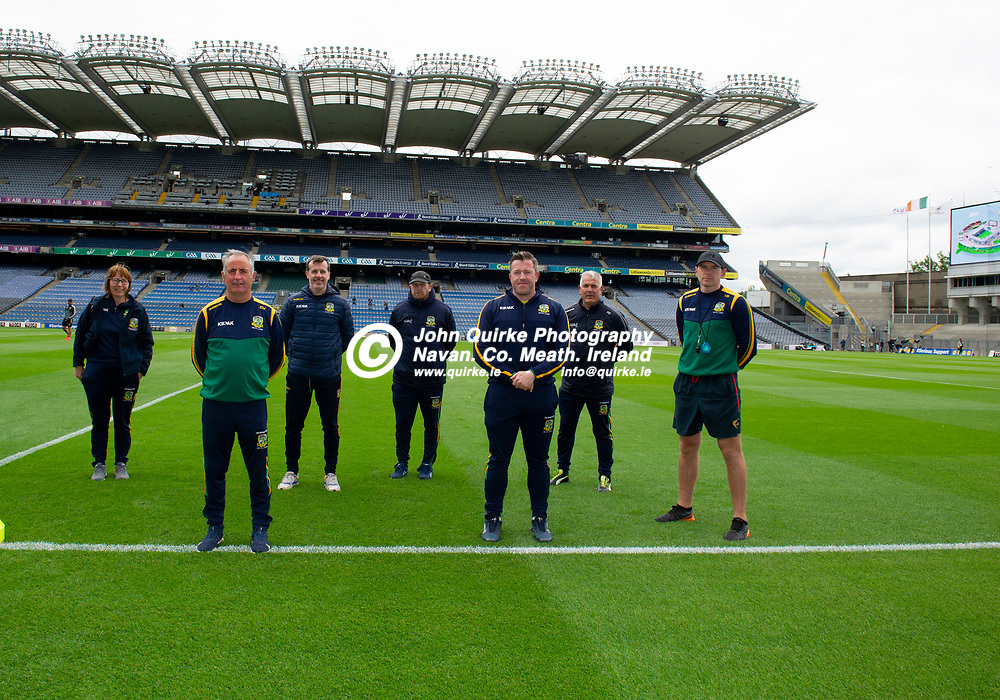 26-06-21. Meath v Kerry - Lidl Ladies National Football League Division 2 Final at Croke Park.<br />Meath Team Mentors L to R. Michelle Grimes, Eamonn Murray (Manager), Eugene Eivers, Paul Garrigan, Shane Wall, Paddy Dowling and Mark Brennan.<br />Photo: John Quirke / www.quirke.ie<br />©John Quirke Photography, 16 Proudstown Road, Navan. Co. Meath. (info@quirke.ie / 046-9028461 / 087-2579454).
