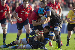 December 9, 2018 - Limerick, Ireland - Tadhg Beirne of Munster tackled by Thibault Lasselle and Mathieu Babillot of Castres during the Heineken Champions Cup Round 3 match between Munster Rugby and Castres Qlympique at Thomond Park Stadium in Limerick, Ireland on December 9, 2018  (Credit Image: © Andrew Surma/NurPhoto via ZUMA Press)