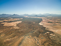 Aerial view of arid landscapes of Fuerteventura, Canary Islands.