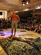 John Kamikase performance, part of Body Craze. Selfridges. 27 May 2003. © Copyright Photograph by Dafydd Jones 66 Stockwell Park Rd. London SW9 0DA Tel 020 7733 0108 www.dafjones.com