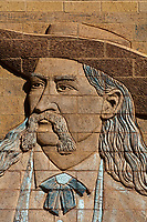 "Wild Bill Hickok on carved ""Welcome to Deadwood"" sign, Deadwood, Black Hills, South Dakota USA"