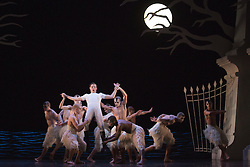 © Licensed to London News Pictures. 05/12/2013. London, England. With Jonathan Ollivier as The Swan and Sam Archer as The Prince. Matthew Bourne's Swan Lake is performed at Sadler's Wells Theatre from 4 December 2013 to 26 January 2014. Photo credit: Bettina Strenske/LNP