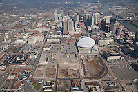 Aerial photo of the Downtown Nashville Skyline showing construction on the new Music City Center.
