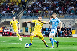 Slobodan Vuk of NK Domzale and Oscar Lewicki of Malmo FF during Football match between NK Domzale and Malmo FF in Second Qualifying match of UEFA Europa League 2019/2020, on July 25th, 2019 in Sports park Domzale, Domzale, Slovenia. Photo by Grega Valancic / Sportida