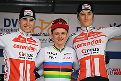 February 9, 2019 - Lille U23, BELGIUM - Belgian Niels Vandeputte, British world champion Thomas Pidcock and British Ben Turner pictured on the podium after the U23 race of the Krawatencross cyclocross in Lille, the eighth and last stage in the DVV Trofee Cyclocross competition, Saturday 09 February 2019. BELGA PHOTO DAVID STOCKMAN (Credit Image: © David Stockman/Belga via ZUMA Press)