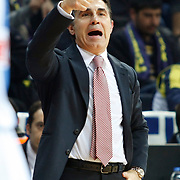 EA7 Emporio Armani's coach Sergio Scariolo during their Turkish Airlines Euroleague Basketball Top 16 Group G Game 2 match Fenerbahce Ulker between EA7 Emporio Armani at Fenerbahce Ulker Sports Arena in Istanbul, Turkey, Wednesday, January 25, 2012. Photo by TURKPIX