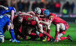 Scarlets' Tadhg Beirne prepares for the scrum<br /> <br /> Photographer Craig Thomas/Replay Images<br /> <br /> Guinness PRO14 Round 17 - Scarlets v Leinster - Friday 9th March 2018 - Parc Y Scarlets - Llanelli<br /> <br /> World Copyright © Replay Images . All rights reserved. info@replayimages.co.uk - http://replayimages.co.uk