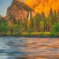 Evening light on Bridalveil Falls, Yosemite National Park, California.