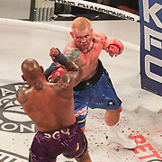 HOLLYWOOD, FL - JUNE 26: Hector Lombard fights Joe Riggs (R) during the Bare Knuckle Fighting Championships at the Seminole Hard Rock & Casino on June 26, 2021 in Hollywood, Florida. (Photo by Alex Menendez/Getty Images) *** Local Caption *** Hector Lombard; Joe Riggs