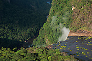 Kaieteur Gorge<br /> Kaieteur Falls<br /> GUYANA<br /> South America<br /> Kaieteur Falls is the world's widest single drop waterfall, located on the Potaro River in the Kaieteur National Park, in Essequibo, Guyana,<br /> Height: 741′<br /> Elevation: 1,581′<br /> Number of drops: 1<br /> Longest drop: 741′<br /> Watercourse: Potaro River