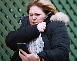 """© Licensed to London News Pictures . 23/11/2020 . Manchester, UK . Emma Fallon racist roadrage pictured outside of Manchester and Salford Magistrates Court after being convicted of a racially aggravated road rage offence . See """" Woman 'cut up' on motorway launched racist tirade as son, 6, 'begged her to stop """" at https://www.mirror.co.uk/news/uk-news/woman-cut-up-motorway-launched-23058124 . Photo credit : Joel Goodman/LNP"""