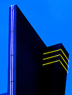 Photo Randy Vanderveen.Yuma, Arizona.23/02/10.Neon lights accent the architectural elements of a building.