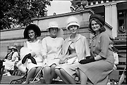 """06/06/1962<br /> 06/06/1962<br /> 06 June 1962<br /> College Races at Trinity College, Dublin. Winners in the competition for """"Miss Elegance"""" (l-r): Caroline MacLean (4th); Catherine Nesbit, (3rd); Etain Yardley, (1st) and Rosemary Fisher (4th)"""