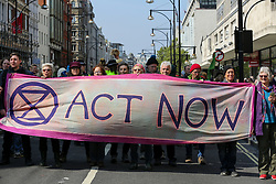 © Licensed to London News Pictures. 15/04/2019. London, UK. Environmental activists demonstrates in Oxford Circus to demand decisive action from the UK Government on the environmental crisis. Photo credit: Dinendra Haria/LNP
