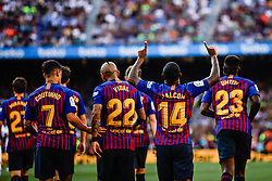 August 15, 2018 - Malcom Filipe from Brasil celebrating his goal during the Joan Gamper trophy game between FC Barcelona and CA Boca Juniors in Camp Nou Stadium at Barcelona, on 15 of August of 2018, Spain. (Credit Image: © AFP7 via ZUMA Wire)