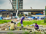21 SEPTEMBER 2016 - BANGKOK, THAILAND: The construction site on what used to be the Bang Chak Market. The market closed permanently on January 4, 2016. The Bang Chak Market served the community around Sois 91-97 on Sukhumvit Road in the Bangkok suburbs. Bangkok city authorities put up notices in late November 2015 that the market would be closed by January 1, 2016 and redevelopment would start shortly after that. Market vendors said condominiums are being built on the land.      PHOTO BY JACK KURTZ