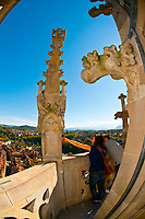 Tourists admiring the view over the medieval city center of Bern from the roof of the Munster (Cathedral of Bern), Bern, Canton Bern, Switzerland