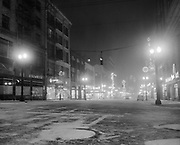Y-500103-02.  Portland SW Broadway at Morrison looking north, at night in snow, January 3, 1950