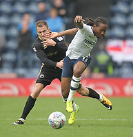Preston North End's Daniel Johnson battles with  Millwall's Jed Wallace<br /> <br /> Photographer Mick Walker/CameraSport<br /> <br /> The EFL Sky Bet Championship - Preston North End v Millwall - Saturday 23rd September 2017 - Deepdale Stadium - Preston<br /> <br /> World Copyright © 2017 CameraSport. All rights reserved. 43 Linden Ave. Countesthorpe. Leicester. England. LE8 5PG - Tel: +44 (0) 116 277 4147 - admin@camerasport.com - www.camerasport.com